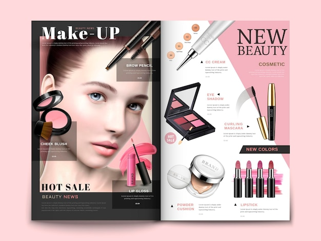 Cosmetic magazine template, trendy cosmetic products with model portrait in 3d illustration, magazine or catalog brochure