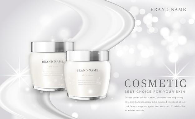 Косметический макияж иллюстрация бутылка продукта с элегантным белым блестящим фоном