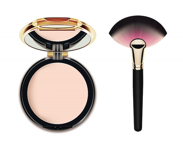 Cosmetic makeup face powder and brush.