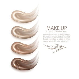 Cosmetic makeup liquid foundation texture smudges illustration