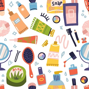 Cosmetic and makeup seamless pattern. cream tube, lipstick, nail polish, soap, eye shadows, round mirror. flat hand drawn  icons set. woman stuff, girls accessories. face, skin care products.