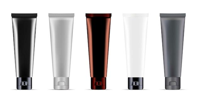 Cosmetic or medicine cream tubes set mockup vector