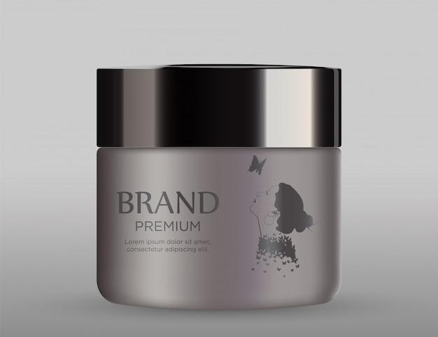 Cosmetic metal mockup with black cap