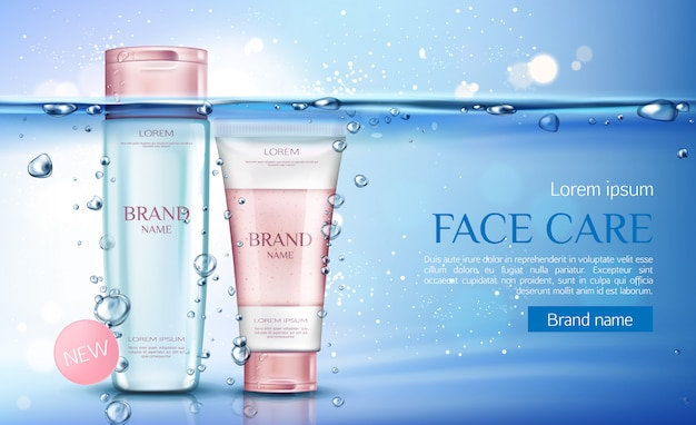 Cosmetic micellar water and scrub bottles, beauty cosmetics products line for face care