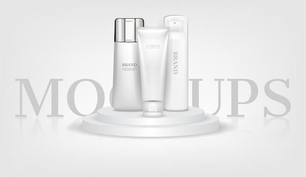 Cosmetic mockups on white podium