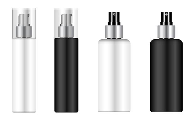 화장품 무스 병, 펌프 디스펜서 팩. 스프레이 포장 빈, 플라스틱 3d 컨테이너 템플릿.