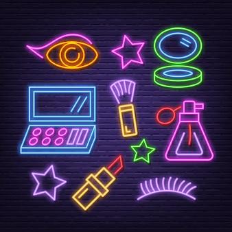 Cosmetic neon icons set