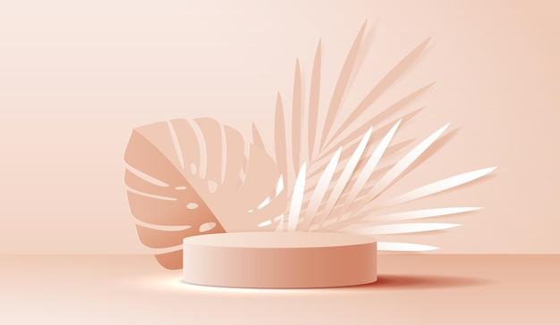 Косметика на коричневом фоне и подиум премиум-класса для брендинга презентации продукта