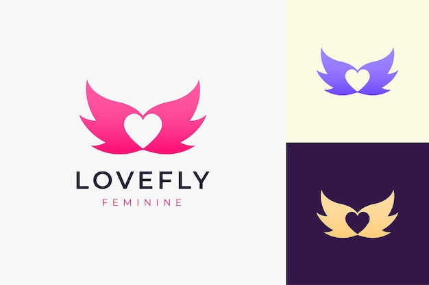 단순한 사랑과 날개 모양의 화장품 또는 건강 로고
