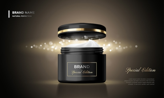Cosmetic package advertising cream jar premium black glitter background