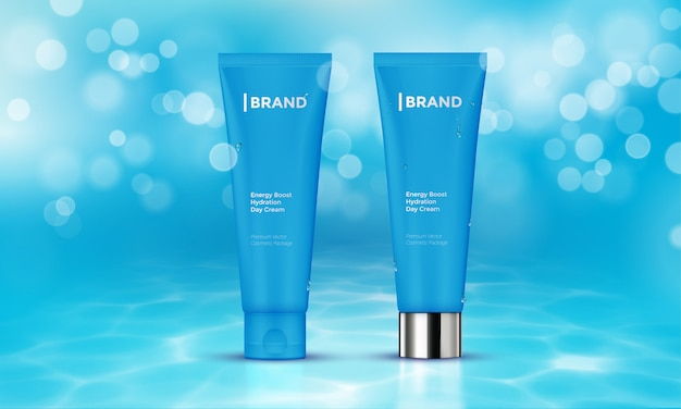 Cosmetic package advertising template skin care cream water background