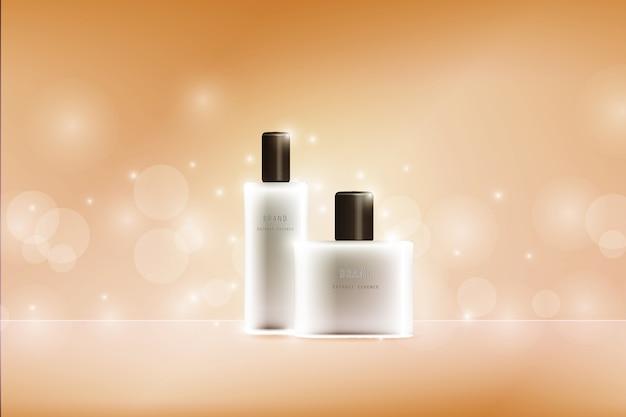 化粧品パッケージ広告ベクトルテンプレート