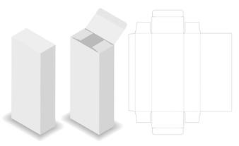 化粧品パッケージボックスdielineと3dモックアップ