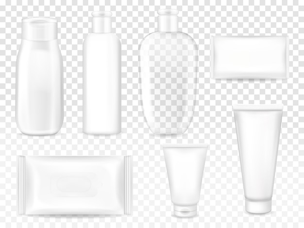 Cosmetic packages illustration of shampoo or lotion plastic bottle, facial cream tube or soap