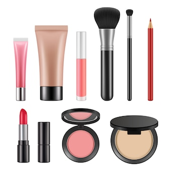 Cosmetic packages. various realistic   cosmetics for women