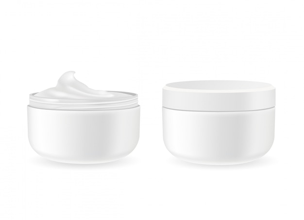 Cosmetic packages with face cream isolated