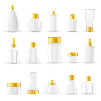 Set di schemi di packaging cosmetico
