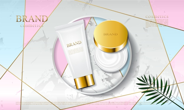 The cosmetic packaging is placed on a marble platform
