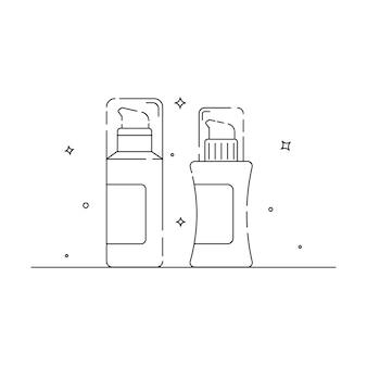 흰색 배경 벡터 eps 10에 화장품 포장 관련 아이콘 개요
