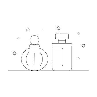 Cosmetic packaging related icons outline on a white background