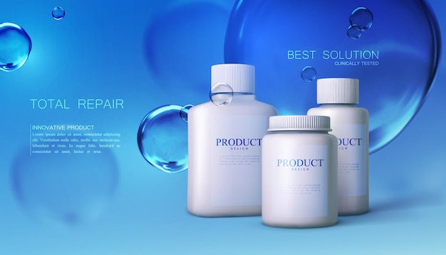 Cosmetic or pharmaceutical product package with transparent blue water bubbles