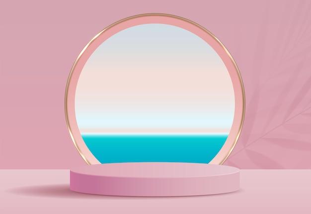 Косметический розовый фон и подиум премиум-класса для презентации продукта, брендинга и упаковки