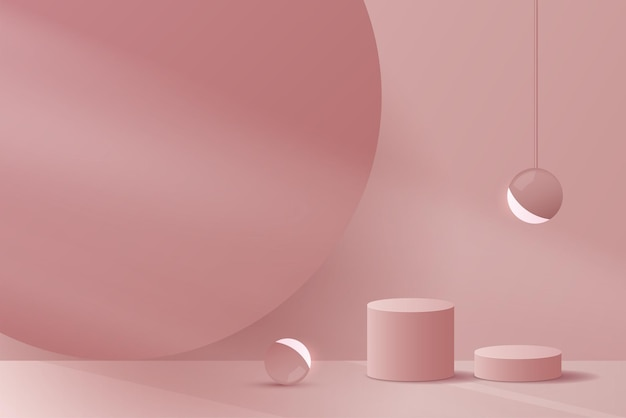Cosmetic pink background minimal and premium podium display for product presentation branding
