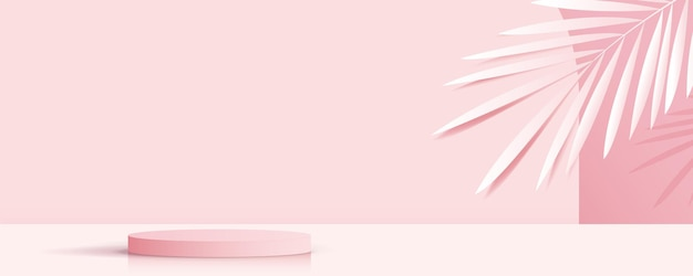 Cosmetic on pink background and premium podium display for product presentation branding