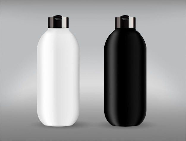Cosmetic plastic back and white bottle with black lid.