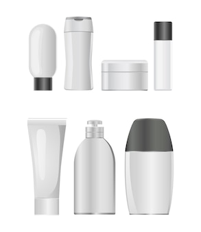 Cosmetic plastic bottle icon set