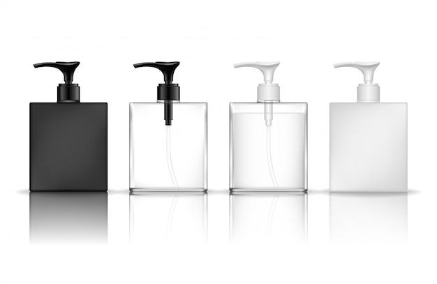 化粧品ペットボトル(透明)。ジェル、ローション、クリーム、シャンプー、バスフォーム用の液体容器。美容製品パッケージ。