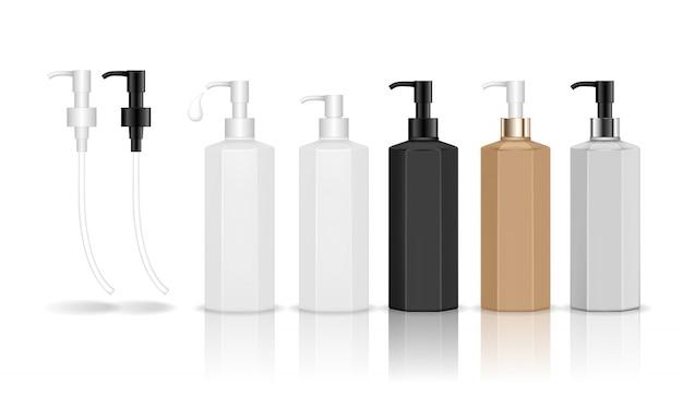 ディスペンサーポンプが付いている化粧品のプラスチックボトル。ジェル、ローション、クリーム、シャンプー、バスフォーム用の液体容器。美容製品パッケージ。