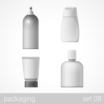 Cosmetic plastic container tube bottle package set