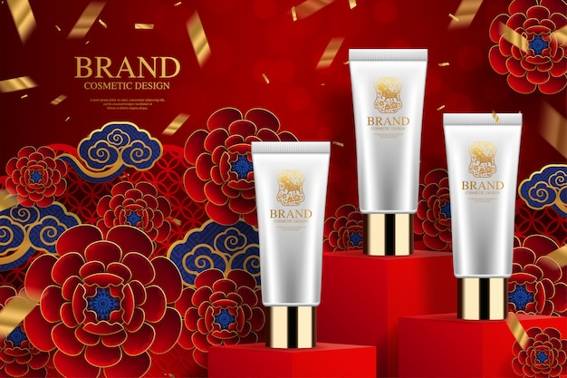 Cosmetic plastic tube ads on square podium and paper art chinese elements on background.