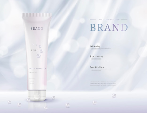 Cosmetic plastic tube ads with light blue drapery and pearls in 3d illustration