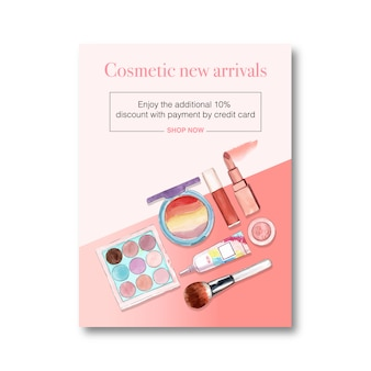 Cosmetic poster with brush on, lipstick, eyeshadow