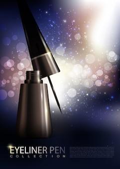 Poster di eyeliner realistico premium cosmetico con tubo aperto e pennello su incandescente