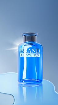 Cosmetic product ads with watery water drops and glitter effects on blue background
