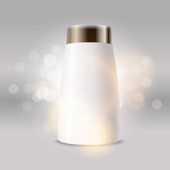 화장품 제품 광고 벡터 템플릿입니다. 빛나는 배경에 브랜드 로고용 크림 병 템플릿