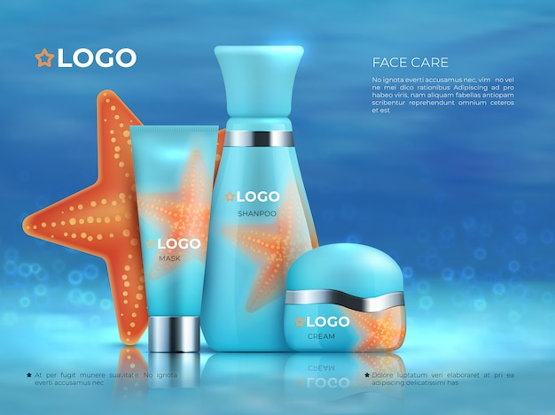 Cosmetic product background. beauty care cosmetic product skincare 3d promotion cream bottle. realistic cosmetic template