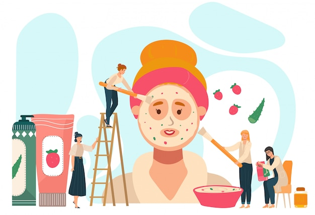 Cosmetic product concept, tiny people applying facial mask on giant woman face,  illustration