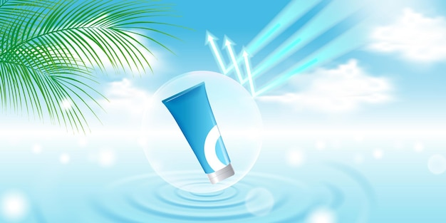 Cosmetic product display template with blue sky background, water ripple, palm leaf, bubble shield