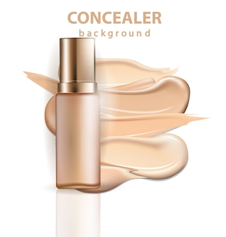 Cosmetic product, foundation, concealer, cream with smear strokes. beauty and cosmetics
