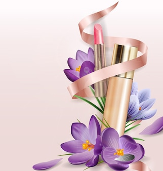 Cosmetic product foundation concealer with  flowers crocuses beauty and cosmetics background