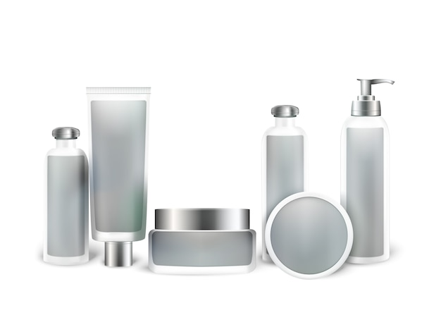 Cosmetic product mock up set.  bottles