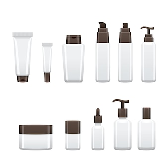 Cosmetic product package, beauty bottle white blank packaging