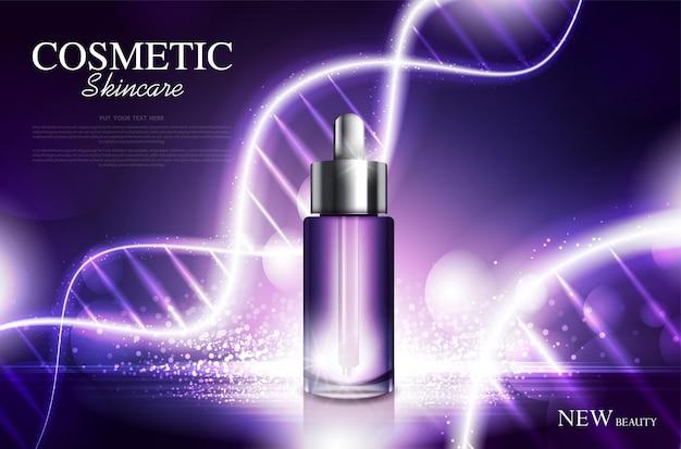 Дизайн упаковки бутылки косметического продукта с увлажняющим кремом или жидким игристым фоном