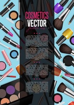 Cosmetic product promo brochure page layout
