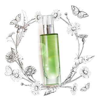 Cosmetic product, realistic tube for cream dispenser, lotion, gel, medicine cream, tone cream, ointment, concealer, salve a wreath of painted herbs and flowers background.