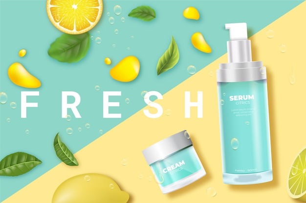 Cosmetic product skincare fresh with lemon ad